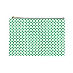 Green Shamrock Clover On White St  Patrick s Day Cosmetic Bag (large)