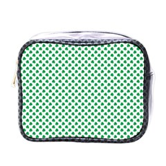 Green Shamrock Clover On White St  Patrick s Day Mini Toiletries Bags