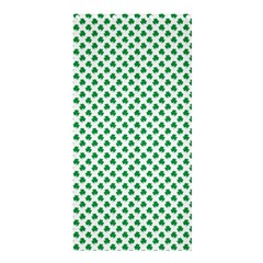 Green Shamrock Clover On White St  Patrick s Day Shower Curtain 36  X 72  (stall)
