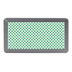 Green Shamrock Clover On White St  Patrick s Day Memory Card Reader (mini)