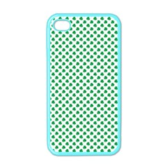 Green Shamrock Clover On White St  Patrick s Day Apple Iphone 4 Case (color)