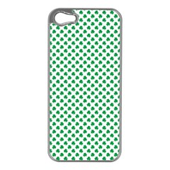 Green Shamrock Clover On White St  Patrick s Day Apple Iphone 5 Case (silver)