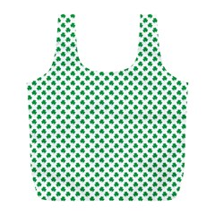 Green Shamrock Clover On White St  Patrick s Day Full Print Recycle Bags (l)