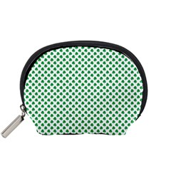 Green Shamrock Clover On White St  Patrick s Day Accessory Pouches (small)