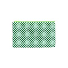 Green Shamrock Clover On White St  Patrick s Day Cosmetic Bag (xs)