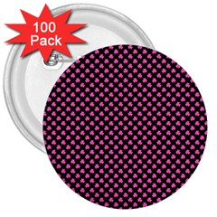 Small Hot Pink Irish Shamrock Clover On Black 3  Buttons (100 Pack)