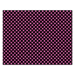 Small Hot Pink Irish Shamrock Clover On Black Rectangular Jigsaw Puzzl