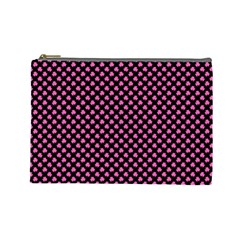Small Hot Pink Irish Shamrock Clover On Black Cosmetic Bag (large)