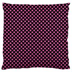 Small Hot Pink Irish Shamrock Clover On Black Large Cushion Case (one Side)
