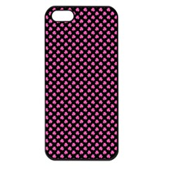Small Hot Pink Irish Shamrock Clover On Black Apple Iphone 5 Seamless Case (black)
