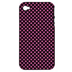 Small Hot Pink Irish Shamrock Clover On Black Apple Iphone 4/4s Hardshell Case (pc+silicone)
