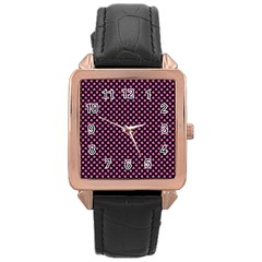 Small Hot Pink Irish Shamrock Clover On Black Rose Gold Leather Watch