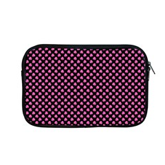 Small Hot Pink Irish Shamrock Clover On Black Apple Macbook Pro 13  Zipper Case