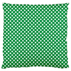 White Shamrocks On Green St  Patrick s Day Ireland Large Cushion Case (one Side)