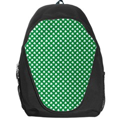White Shamrocks On Green St  Patrick s Day Ireland Backpack Bag