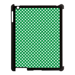 White Shamrocks On Green St  Patrick s Day Ireland Apple Ipad 3/4 Case (black)