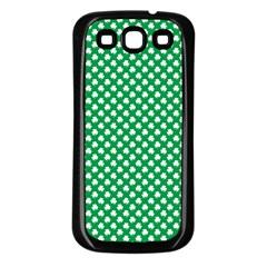 White Shamrocks On Green St  Patrick s Day Ireland Samsung Galaxy S3 Back Case (black)