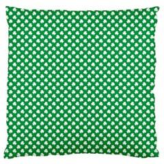 White Shamrocks On Green St  Patrick s Day Ireland Large Flano Cushion Case (two Sides)