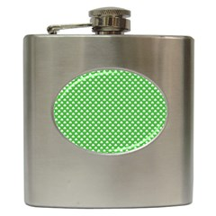 White Heart Shaped Clover On Green St  Patrick s Day Hip Flask (6 Oz)