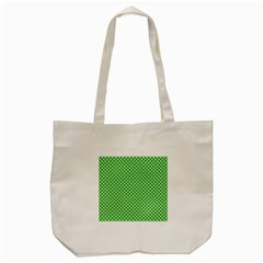 White Heart Shaped Clover On Green St  Patrick s Day Tote Bag (cream)