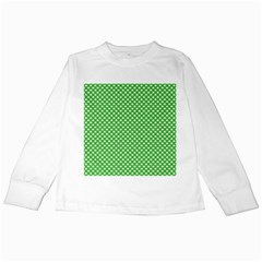 White Heart Shaped Clover On Green St  Patrick s Day Kids Long Sleeve T Shirts