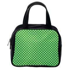 White Heart Shaped Clover On Green St  Patrick s Day Classic Handbags (one Side)
