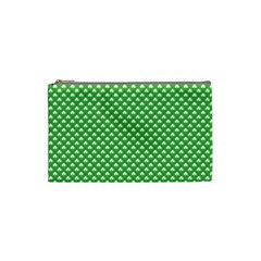 White Heart Shaped Clover On Green St  Patrick s Day Cosmetic Bag (small)