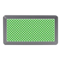 White Heart Shaped Clover On Green St  Patrick s Day Memory Card Reader (mini)