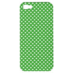 White Heart Shaped Clover On Green St  Patrick s Day Apple Iphone 5 Hardshell Case