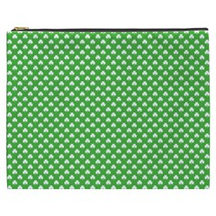 White Heart Shaped Clover On Green St  Patrick s Day Cosmetic Bag (xxxl)