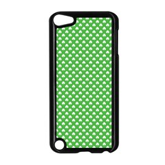 White Heart Shaped Clover On Green St  Patrick s Day Apple Ipod Touch 5 Case (black)