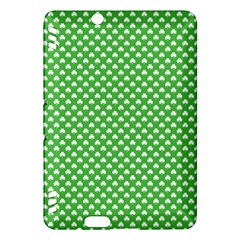 White Heart Shaped Clover On Green St  Patrick s Day Kindle Fire Hdx Hardshell Case