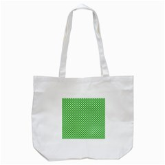 White Heart Shaped Clover On Green St  Patrick s Day Tote Bag (white)