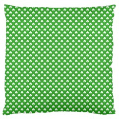 White Heart Shaped Clover On Green St  Patrick s Day Large Flano Cushion Case (one Side)