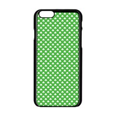 White Heart Shaped Clover On Green St  Patrick s Day Apple Iphone 6/6s Black Enamel Case