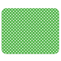 White Heart Shaped Clover On Green St  Patrick s Day Double Sided Flano Blanket (medium)