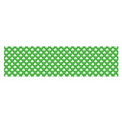 White Heart Shaped Clover On Green St  Patrick s Day Satin Scarf (oblong)