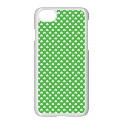 White Heart Shaped Clover On Green St  Patrick s Day Apple Iphone 7 Seamless Case (white)