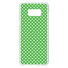 White Heart Shaped Clover On Green St  Patrick s Day Samsung Galaxy S8 Plus White Seamless Case