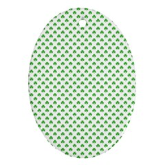Green Heart Shaped Clover On White St  Patrick s Day Ornament (oval)