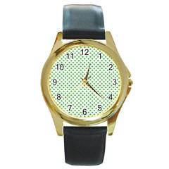 Green Heart Shaped Clover On White St  Patrick s Day Round Gold Metal Watch