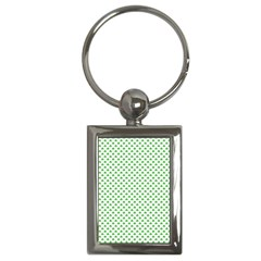 Green Heart Shaped Clover On White St  Patrick s Day Key Chains (rectangle)