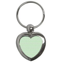 Green Heart Shaped Clover On White St  Patrick s Day Key Chains (heart)