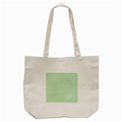 Green Heart Shaped Clover On White St  Patrick s Day Tote Bag (cream)