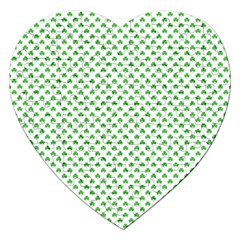 Green Heart Shaped Clover On White St  Patrick s Day Jigsaw Puzzle (heart)