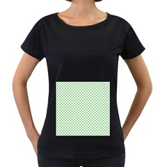 Green Heart Shaped Clover On White St  Patrick s Day Women s Loose Fit T Shirt (black)