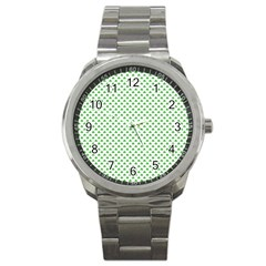 Green Heart Shaped Clover On White St  Patrick s Day Sport Metal Watch