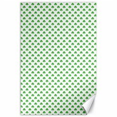Green Heart Shaped Clover On White St  Patrick s Day Canvas 24  X 36