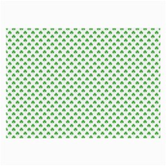 Green Heart Shaped Clover On White St  Patrick s Day Large Glasses Cloth (2 Side)