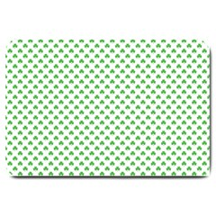 Green Heart Shaped Clover On White St  Patrick s Day Large Doormat